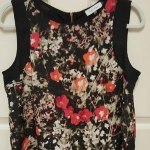 """Calvin Klein"" zipper back floral patterned shirt"